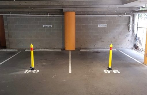 folding-manual-parking-bollard-TMS-B04-and-TMS-B06-installed-indoors